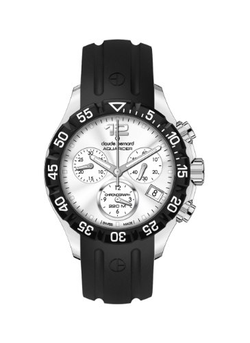 Claude Bernard Women's 10209 3 AIN Aquarider Silver Chronograph Rotating Bezel Rubber Watch