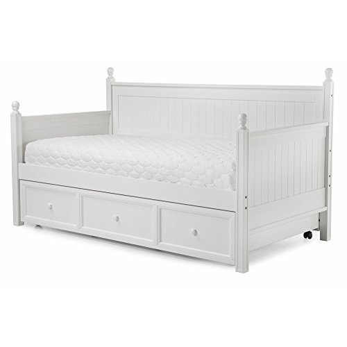 Fashion Bed Group Casey Complete Wood Daybed with Ball Finials and Roll Out Trundle Drawer, White Finish, Twin