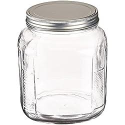 Anchor Hocking 2-Quart Cracker Jar with Brushed Aluminum Lid, Set of 4