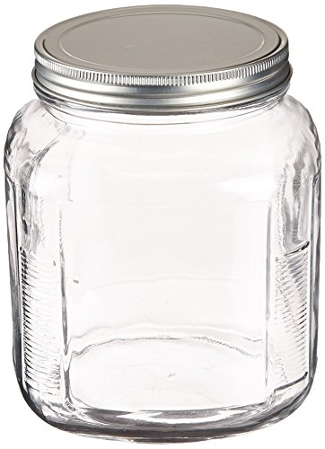 2 Quart Round Storage Container - Anchor Hocking 2-Quart Cracker Jar with Brushed Aluminum Lid, Set of 4
