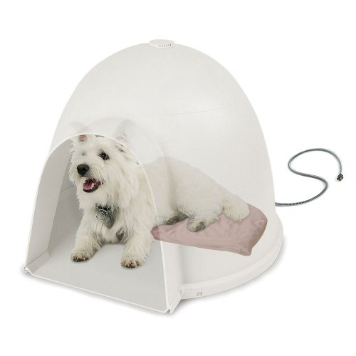 K&H Pet Products Lectro-Soft Igloo Style Outdoor Heated Bed Small Tan 11.5
