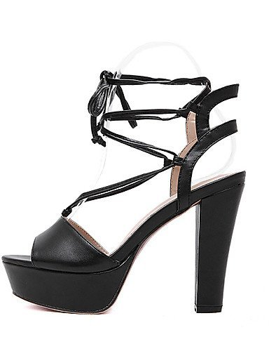 ShangYi Women's Shoes Leatherette Chunky Heel Open Toe Sandals Dress Black / Almond Black GqhvAnEZE