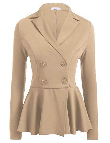 Slim Lunga Puro Ufficio Button Fit Primaverile Moda Manica Business Giacche Khaki Cappotto Donna Blazer Da Casual Tailleur Con 1 Eleganti Autunno Bavero Giacca Colore Pieghe xwcvfcT4Iq