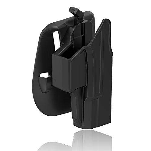 Glock 19 Holster Glock 19X 23 32 45 Holster (Gen 1-5), Polymer Tactical Outside Waistband Pants Paddle Holster with Thumb Release Adjustable Cant for OWB Carry, Right-Handed, Black Finish (Best Owb Holster For Glock 19 Concealed Carry)