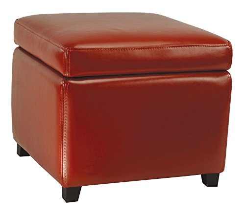 Safavieh Hudson Collection Ryder Leather Square Flip Top Ottoman, Red For Sale