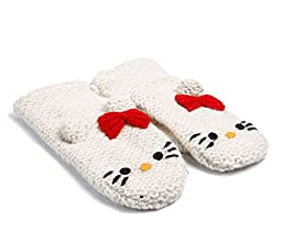 Knitwits Hello Kitty White Infant Wool Mittens One Size 3-18 months