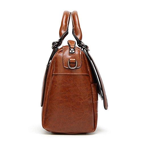 Brown de simple 25x14cmx25cm de petróleo Cocodrilo de la manera tamaño bolso bandolera solo Penao messenger señora cera cien cuero tatuaje 7gHEYqw