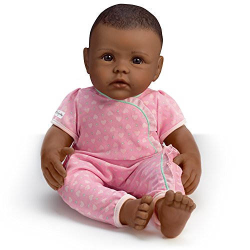Image of the So Truly Mine Baby Doll: Black Hair, Brown Eyes, African-American With Pink Outfit by The Ashton-Drake Galleries