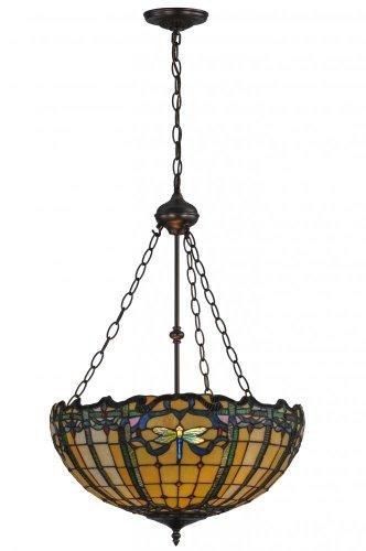 Meyda Tiffany 138577 Dragonfly Trellis Inverted Pendant, 20