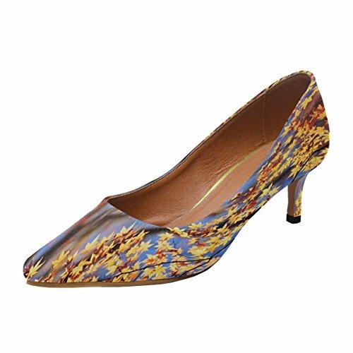 Talon De Chaton Lowprint Womens Interestprint Orteil Robe Pompe Chaussures Automne Érable Feuilles En Arrière-plan Flou, Soleil Multi 1