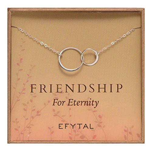 EFYTAL Sterling Silver Friendship for Eternity Necklace, Two Interlocking Infinity Circles Gift for Best -