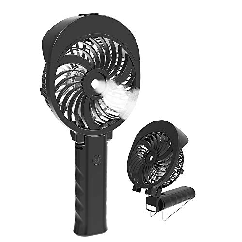 HandFan Handheld Misting Fan, Small Portable Mister Fan 180° Folding USB/Battery Operated Mist Fan Rechargeable Personal Spray Fan with Cooling Humidifier/Mister/55ml Water Tank/3 Speeds (Black)