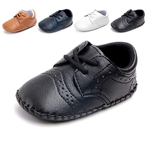 Cindear Newborn Baby Boys First Walking Shoes Soft Synthetic Leather Brogue Infant Dress Crib Shoes Black 6-12 Months - Infant Boys Crib Shoes