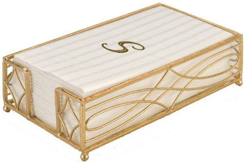 Boston International BID156 Wave Design Guest Towel Napkin Holder Caddy, Gold Leaf by Boston International