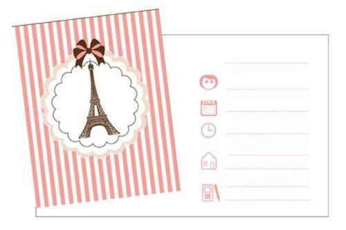 Parisienne Eiffel Tower Theme Party Party Invitations x 8