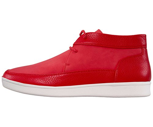Sio Pebble Grain & Faux Suede Moc Toe High Top Casual Sneaker Style Tyson Red/White BUZmpQGxmD