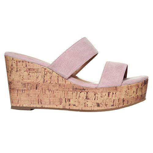 Rohb by Joyce Azria Casablanca High Heel Platform Wedge Slip On Sandal (Rose) Size 7.5 (Best Slip On Sandals 2019)
