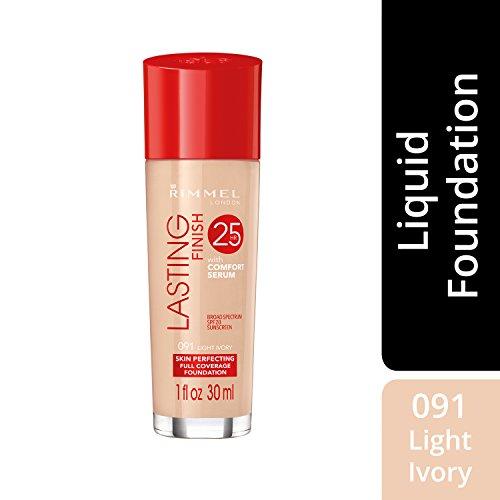 Rimmel Lasting Finish Foundation, Light Ivory, 1 oz, Medium Coverage Liquid Foundation with SPF 20, Long Lasting Smooth & Even Look
