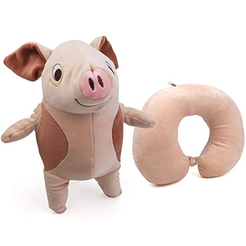 2 in 1 Travel Pillow for Kids,Zip Flip Pillow Converts from U Shape Pillow to Stuffed Plush Animal Toy,Portable Neck Head Support Cushion for Airplane Travel Accessory Trips Office Napping  (Pig)