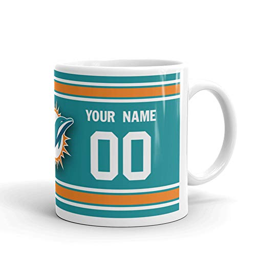 Miami Dolphins Custom Personalized Jersey Name & Number Football Coffee Mug Gift (11oz)