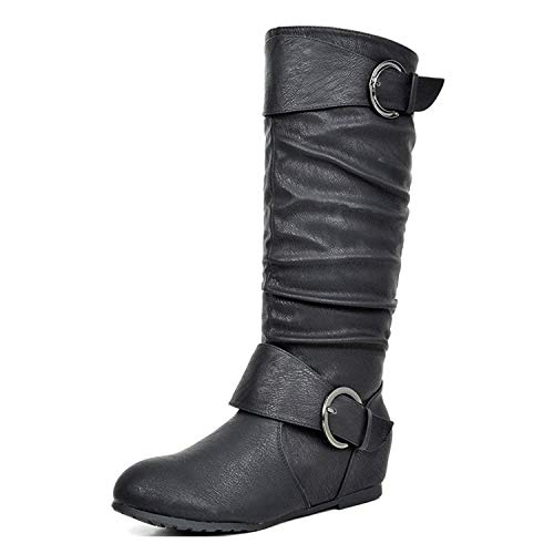 DREAM PAIRS Women's URA Black Knee High Low Hidden Wedge Boots Size 10 M US ()