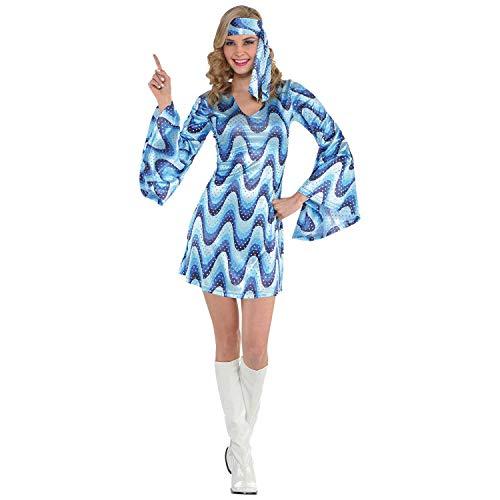 Amscan 847827 Adult Blue Disco Costume - Medium (6-8), Multicolor -