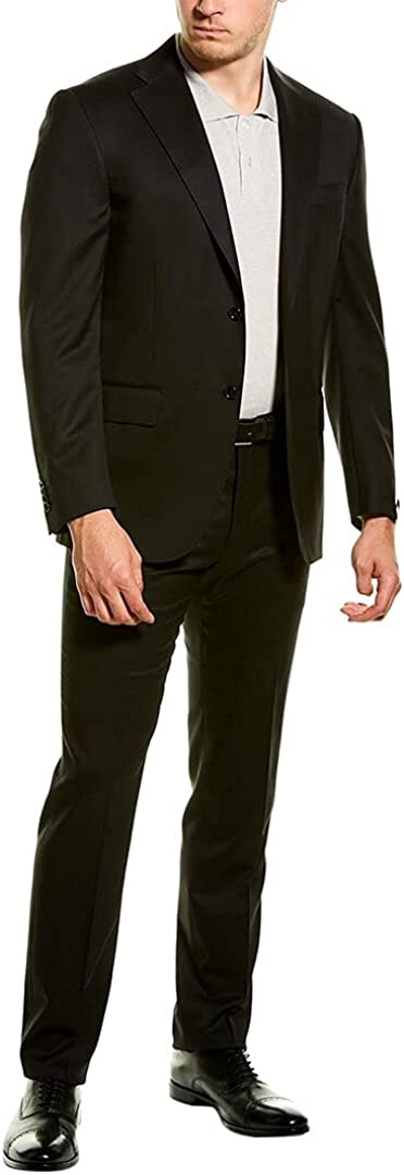 Corneliani Mens Wool Suit with Flat Front Pant, 52R, Black