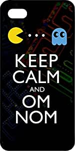 Pac Man Keep Calm & Om Nom Black Rubber Case for Apple iPhone 5 or iPhone 5s