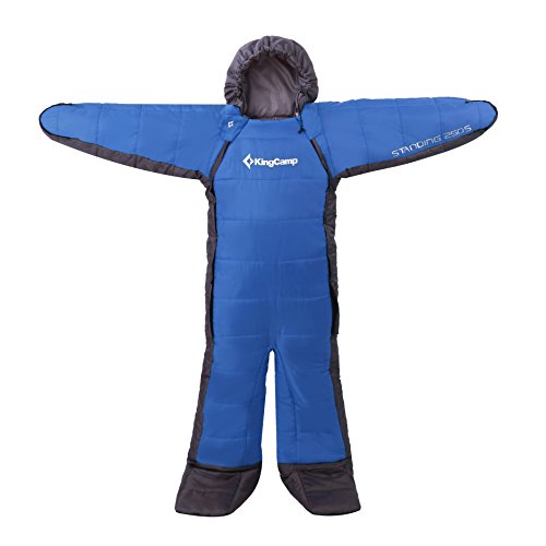 KingCamp Standing 3 Season -8 Degree C / 17.6 Degree F Full Body Wearable Sleeping Bag Family, Free Walker Design (Youth, Blue)