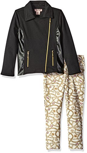 Juicy Couture Little Girls' Toddler Jacket with Pleather Accents and Printed Pant, Black, (Black Printed Leather)