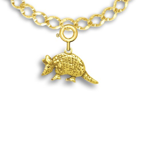 14k Gold Armadillo Charm for Charm Bracelet by The Magic Zoo (Armadillo Costume)