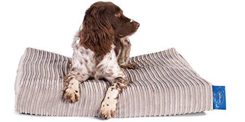 Taschenfederkern Orthopädisches Hundebett mit Matratzenschoner - ( Groß ) - Cord Nerzfarben