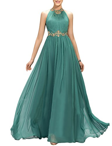 YIRENWANSHA A Line Full Length Prom Dresses 2018 Halter Empire Waist Evening Sash Manual Beaded Retro Pleated Maxi Cocktail Gowns Female Costume EV147 Teal Size 10 ()