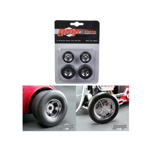 Chromed Wheel - GMP 18841 Chromed Hot Rod Drag Wheels and Tires Set of 4 1/18
