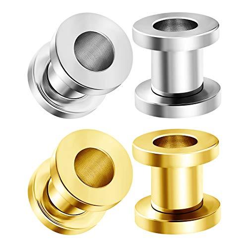 tainless Steel Anodized 2gauges 6 mm Screw Flesh Tunnels Piercing Jewelry Ear Plug Stretcher Lobe Earring BG1978 ()