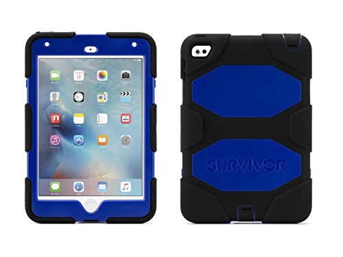Griffin, iPad Mini 4 Case with Stand, Black and Blue Survivor All-Terrain, [Rugged] [Protective] [Dual Layer] [Heavy Duty] [Shock Absorption] [Polycarbonate] [Silicone]