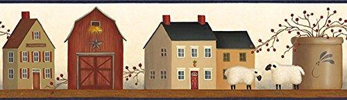 (Chesapeake AA108141B American Folk Art Shaker Village on Shelf Wallpaper Border)