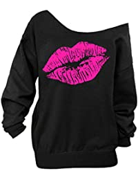 Women's Sexy Pullover Lips Print Casual Off The Shoulder Slouchy Shirt