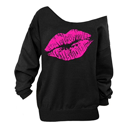 Begonia.K Women's Sexy Pullover Lips Print Casual Off The Shoulder Slouchy Shirt, Black, XXXX-Large ()