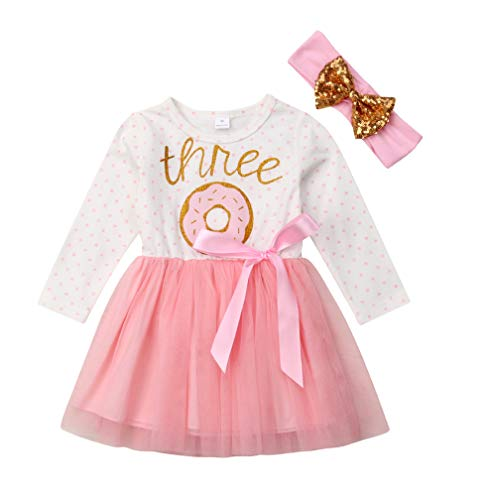 - 2Pcs Baby Girls Tutu Dress 1st Birthday Outfit Donut Letter Print Top Tulle Tutu Skirt with Headband Outfit Set (3-4T, Three Long Sleeve)