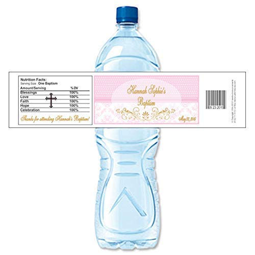 Baptism Pink Damask Theme Personalized Water Bottle Labels, Waterproof (set of 24)(Y691) ()