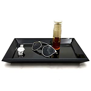 Meetart Rectangle 30x21cm Vanity Organizer Decorative Black Mirror Tray Vanity Tray Mark up Jewelry Tray Black Glass…