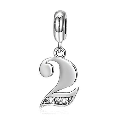 LONAGO Lucky Number 0-9 Charms 925 Sterling Silver Charms Number Pendant (Number 2) - Number 2 Bead
