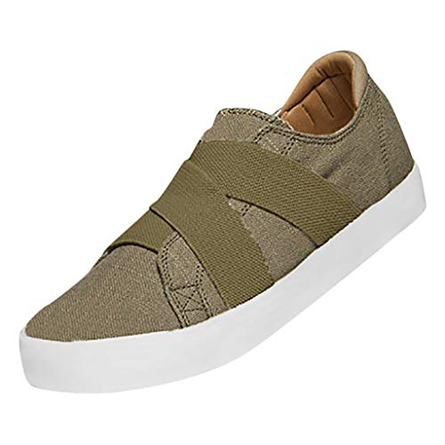 ✔ Hypothesis_X ☎ Women's Summer Sneakers Breathable Sport Shoe Canvas Flat Running ShoesCasual Single Shoes Khaki