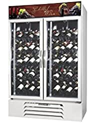 Beverage-Air MMRR49-1-W-LED MarketMax 52 Two Section Glass Door Reach-In Wine Merchandiser with LED Lighting 49 cu.ft. Capacity Black Exterior and Bottom Mounted