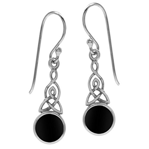 Silvershake Created Black Onyx 925 Sterling Silver Triquetra Celtic Knot Dangle Hook Earrings
