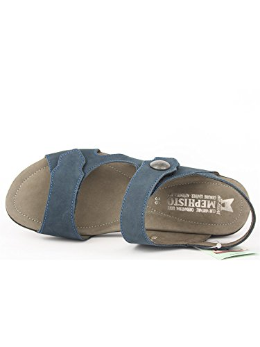 MEPHISTO sandale modelo PRUDY velcro, color azul marino y azul