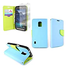 CoverON® for Samsung Galaxy S5 Active (Will Not Fit Other S5 Models) Wallet Case [CarryAll Series] Flip Credit Card Phone Cover Pouch with Screen Protector and Wristlet Strap - (Light Blue / Neon Green)