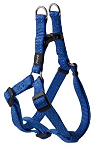 Reflective Adjustable Dog Step in Harness for Medium Dogs; matching collar and leash available, Blue