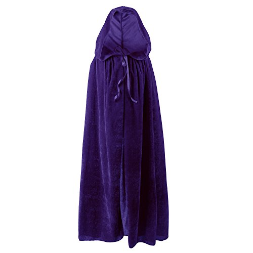 Vampire Cape for Kids,Medieval Cloak with Hood for Devil Witch Wizard Magician(Purple)
